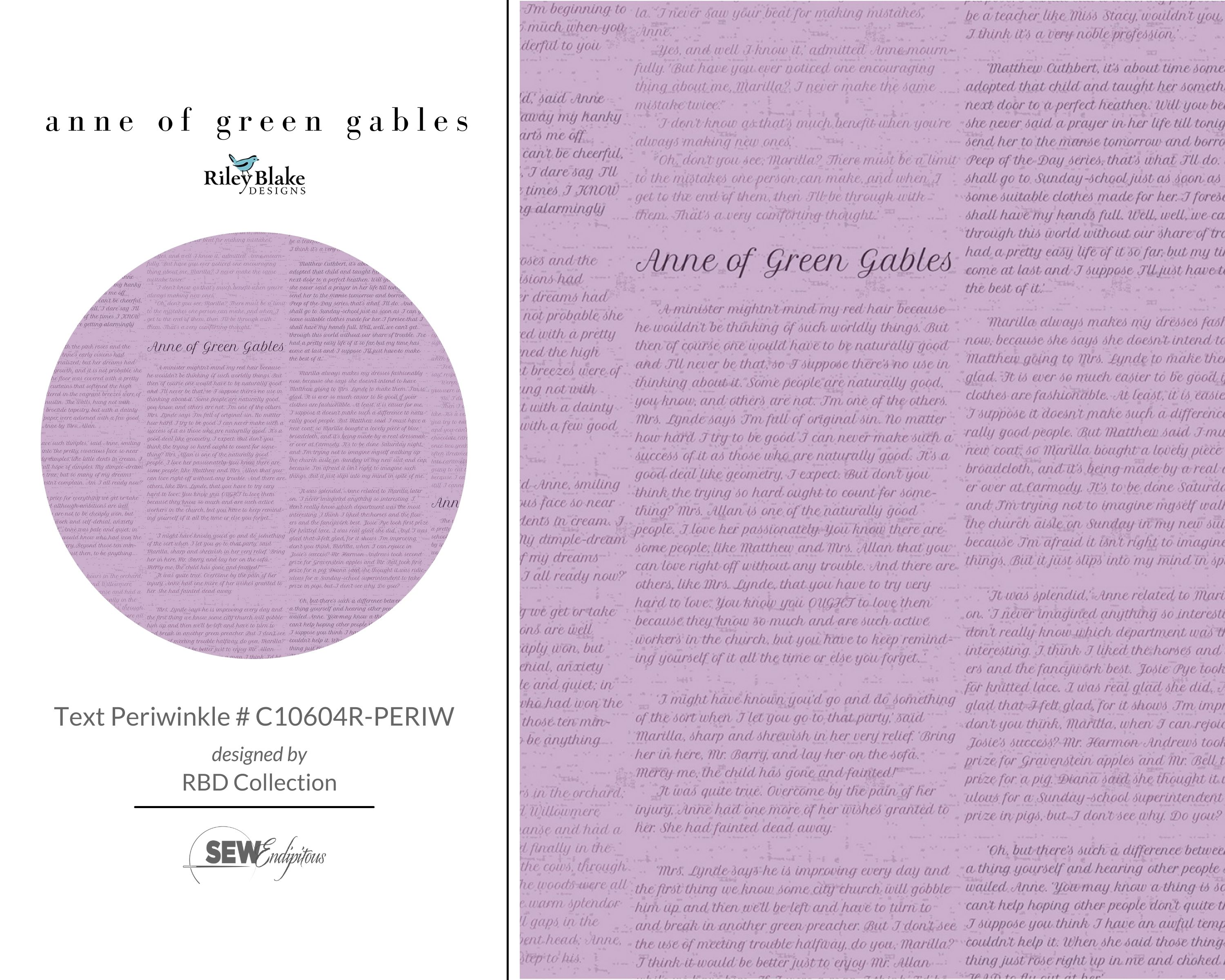 Anne of Green Gables - Text Periwinkle # C10604R-PERIW