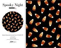 Spooky Night - Black Damask Candy Corn 5721S-99
