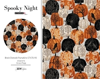 Spooky Night - Black Damask Pumpkins 5717S-93