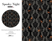 Spooky Night - Black Spooky Damask Stripe 5718S-99