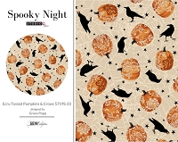 Spooky Night - Ecru Tossed Pumpkins & Crows 5719S-33
